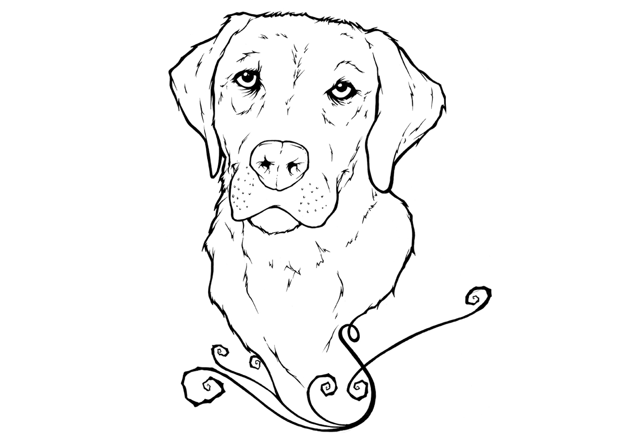 Realistic Lab Dog Coloring Pages
